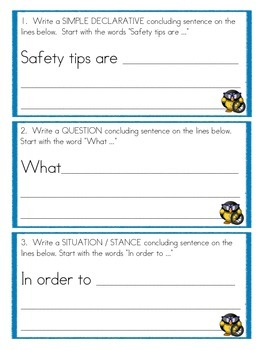 Conclusion Sentence Practice - Summer Bike Safety Informative Writing