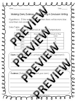 Conclusion Writing Worksheets- Claims, Evidence, and Reasoning (CER)