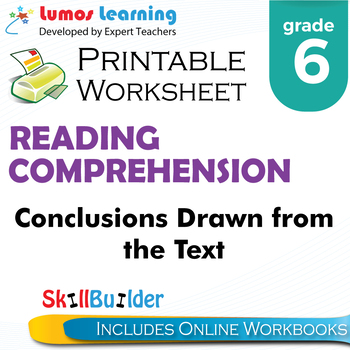 Conclusions Drawn from the Text Printable Worksheet, Grade 6
