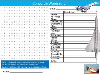 Concorde Wordsearch Puzzle Sheet Starter Activity Keywords Travel Planes