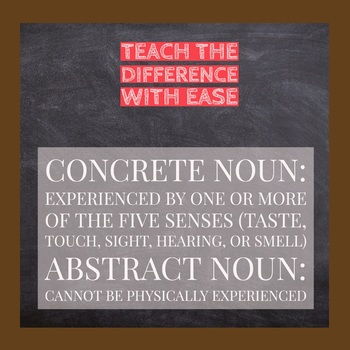 Concrete & Abstract Noun Card Sort - 4 Activities with Grammar Lesson Plan