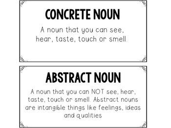 Concrete & Abstract Nouns Sort