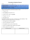 Concrete & Abstract Nouns Worksheet