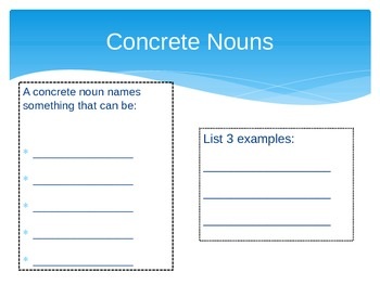 Concrete & Abstract Nouns--powerpoint & worksheets