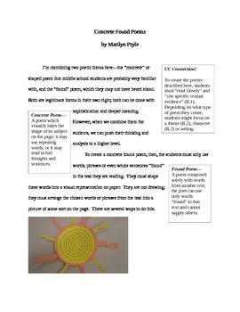 Concrete Found Poem Instructions / Examples in Word--Great for Close Reading!