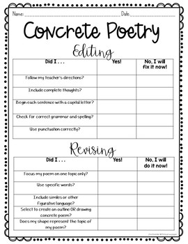 Concrete Poetry Shape Poetry FREE
