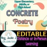 Concrete Poetry Shape Poems Elementary Middle High School Google Editable