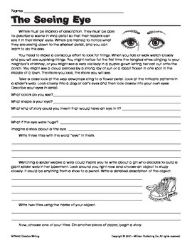 Sensory Details Worksheet | Teachers Pay Teachers