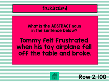 Concrete and Abstract Noun Jeopardy Game