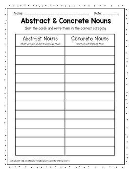 Concrete and Abstract Nouns Grammar Center