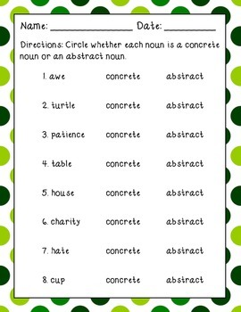 Concrete and Abstract Nouns Pack
