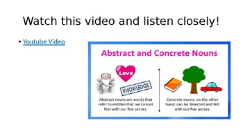 Concrete and Abstract Nouns Powerpoint