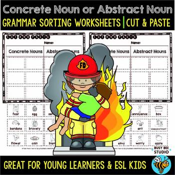 Concrete and Abstract Nouns Sort | Cut and Paste Worksheets