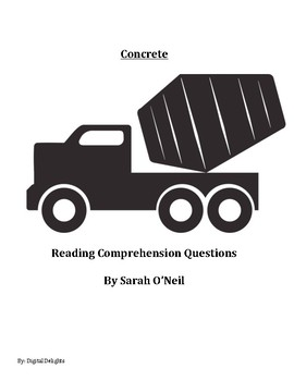 Concrete by Sarah O'Neil Reading Comprehension Questions