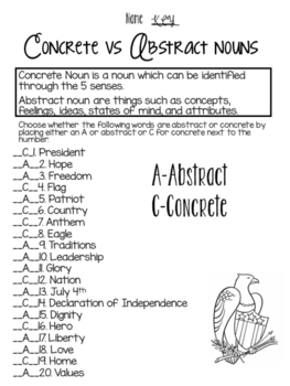 Concrete vs Abstract Nouns American style