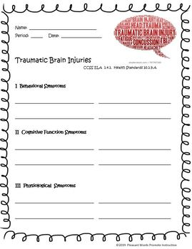 picture regarding Brain Injury Worksheets Printable identify Concussion Worksheets Instruction Materials Instructors Fork out