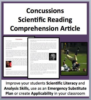 Concussions - Science Reading Comprehension