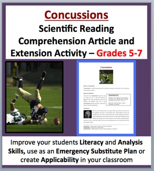 Concussions - Scientific Reading Comprehension Article – Grades 5-7