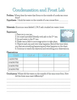 Condensation and Frost Lab