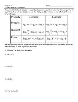 Condensing/Expanding Logarithms Notes Sheet