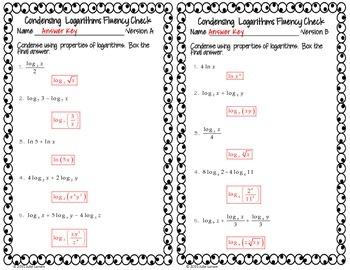 Condensing Logarithms Fluency Check : No Prep Fluent in Math