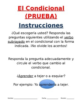Condicional Tense Quiz in Spanish
