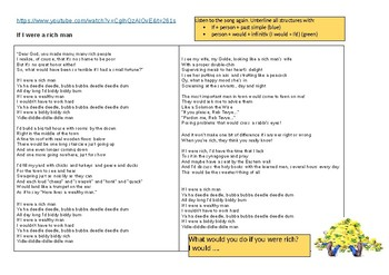 Conditional 2 - If I were a rich man (song) + speaking activity