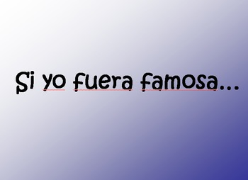 Conditional Introduction PowerPoint - If I were famous... - Spanish 2-4