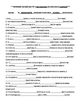 Conditional & Past Subjunctive, Imperfect Subjunctive, chart w/ practice
