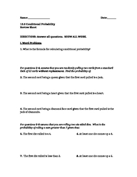 Conditional Probability Review Worksheet by Mr Hughes | TpT