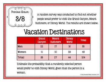 Conditional Probability Two-Way Frequency Tables Scavenger Hunt Activity