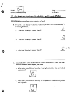 Conditional Probability and Expected Value Review Packet