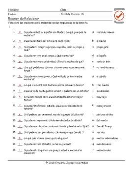 Conditional Sentences Type 2 Spanish Matching Exam