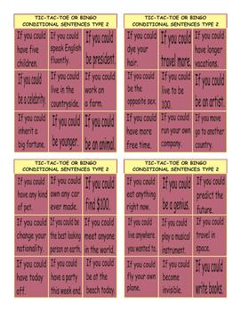 Conditional Sentences Type 2 Tic-Tac-Toe or Bingo