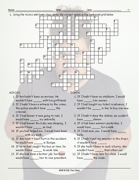 Conditional Sentences Type 3 Crossword Puzzle