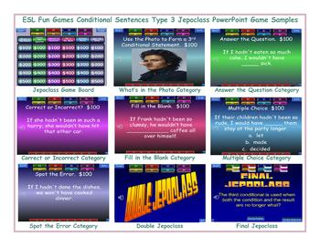 Conditional Sentences Type 3 Jeopardy PowerPoint Game