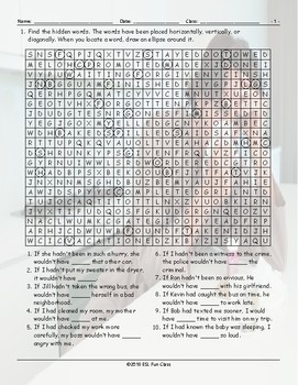 Conditional Sentences Type 3 Word Search Worksheet