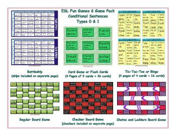 Conditional Sentences Types 0 & 1 6 Board Game Bundle