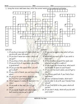 Conditional Sentences Types 0 & 1 Crossword Puzzle
