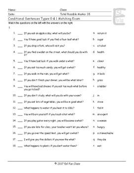 Conditional Sentences Types 0 & 1 Matching Exam