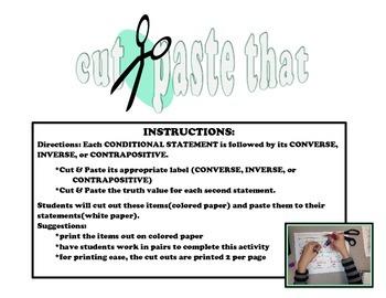 Conditional Statements Cut & Paste