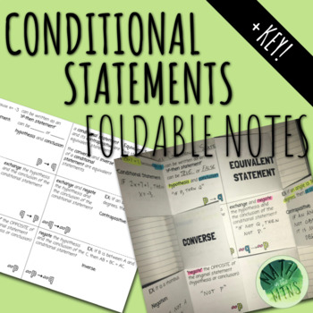 Conditional Statements Foldable Notes