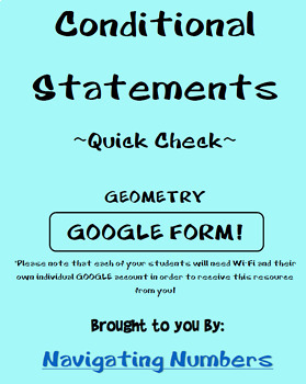 Conditional Statements - Google Form Quick Check