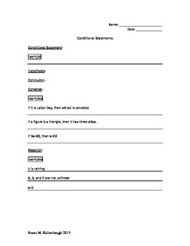 Conditional Statements note-taking guide and practice activity