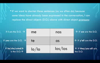 Direct Object Pronouns Notes