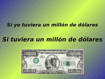 "Conditional Tense Introduction PowerPoint - ""If I had a million dollars"""