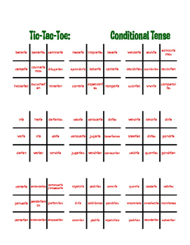 Spanish Conditional Tense Tic Tac Toe Partner Game