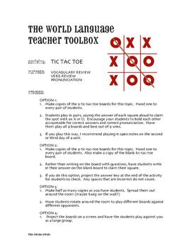 Spanish Conditional Tense Tic Tac Toe Partner Game