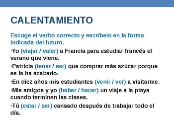 Conditional Tense in Spanish - Presentation & Activities