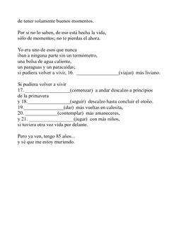 Conditional tense/ Instantes poem